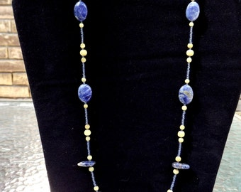 Blue soadalite beaded necklace