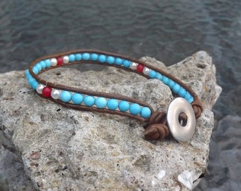 Single wrap leather beaded bracelet