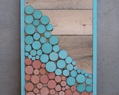 ON SALE - Reclaimed Wood Slice Abstract Landscape Painting in Turquoise & Coral