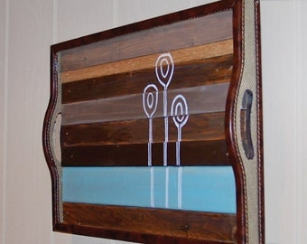 ON SALE - Reclaimed Wood - Nature Series - Original Painting (Brown and Turquoise)