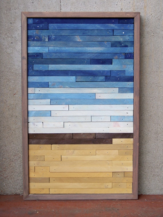 RESERVED FOR ERIN Reclaimed Wood Abstract Beach Original Painting