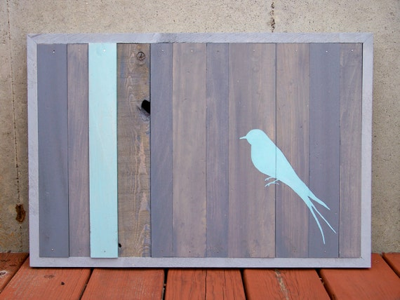 SALE - Reclaimed Wood - Bird Series - Original Painting (Turquoise and Gray)