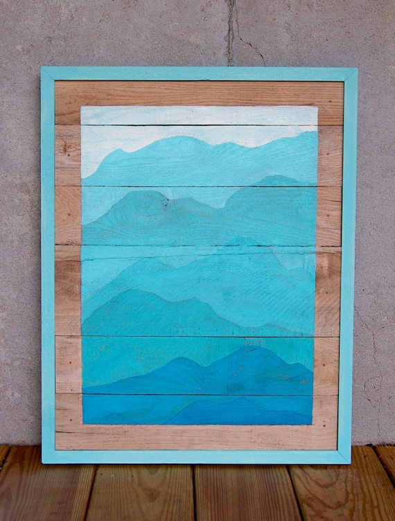 Sale reclaimed wood pallet turquoise mountain painting Reclaimed wood wall art for sale