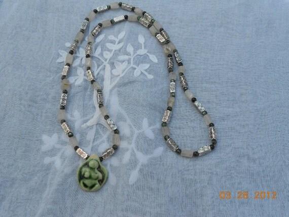 Rutilated Quartz Seraphinite Goddess Necklace