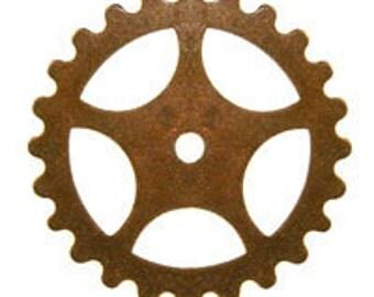 ON SALE! 20% OFF! 16mm Gear - Vintage Patina Trinity Brass