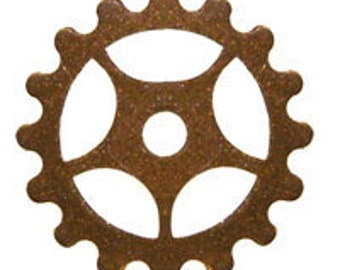 ON SALE! 20% OFF! 25mm Gear - Vintage Patina Trinity Brass - 4 Charms