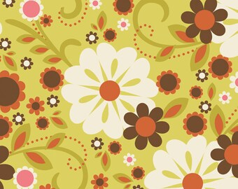"ON SALE 40-50% OFF - Indian Summer Floral Green One Yard - ""Indian Summer"" Riley Blake"