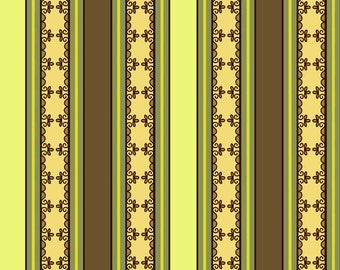 """ON SALE 40-50% OFF - Stripes Gold, Green and Brown Riley Blake """"Fiona's Fancy"""" by Lila Tueller Designs"""