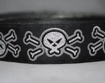 Skulls Black Grey and Silver Woven Trim 25mm wide - Two, Five, or Ten Yards