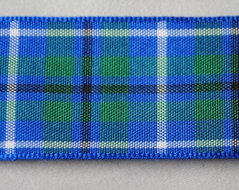 Blue, Green, and White Plaid Ribbon 5 Yards - Trim 1 inch wide