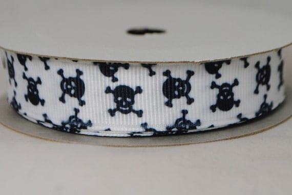 Skulls and Crossbones White and Black 2 Yards Grosgrain Ribbon 5/8 inches wide