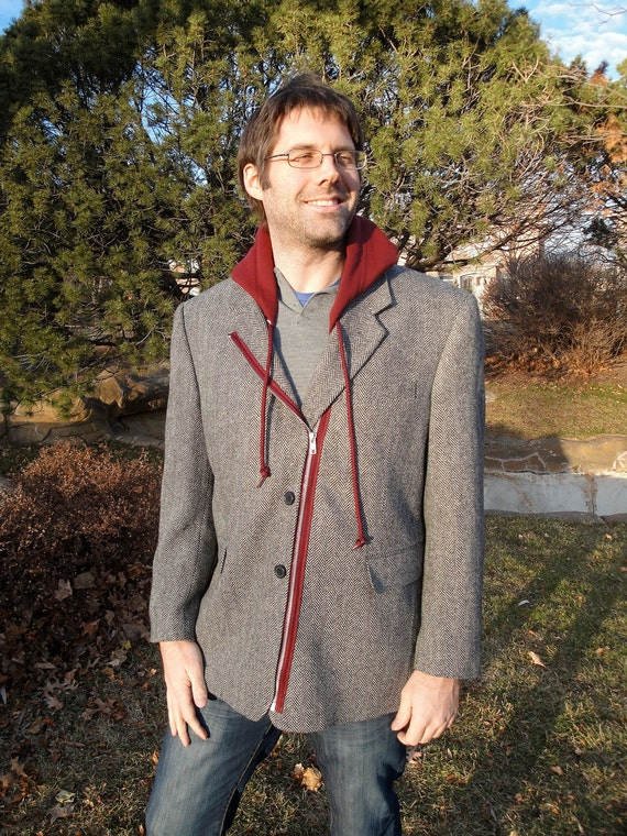 Size 44S - Restructured blazer with hood and zipper