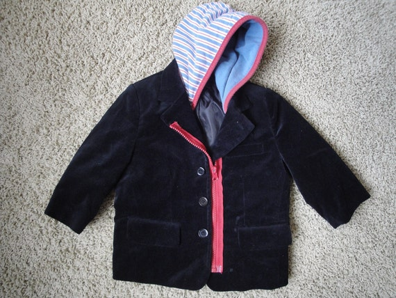Size 18 months - Restructured Baby Jacket with Hood and Zipper