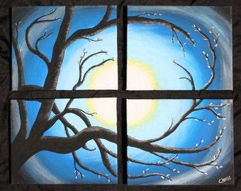 4 piece Original Tree Painting