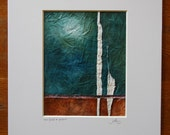 Original abstract acrylic painting on handmade paper-cloth with stitched detail