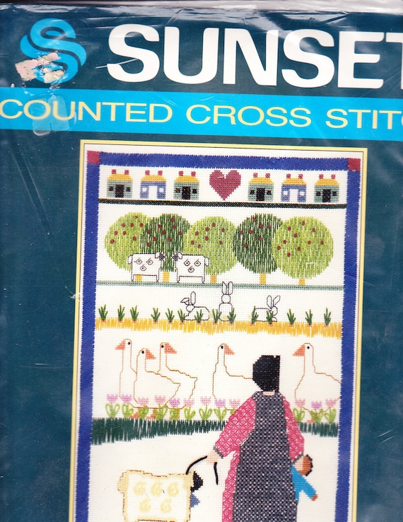 """VINTAGE Sunset Counted Cross Stitch Kit: """"Playtime In The Pasture"""" designed by Bobbe Punzel-Schuknecht"""