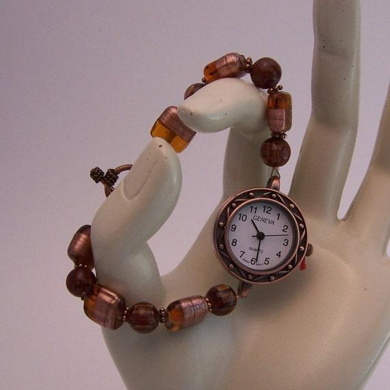 Beaded Watch, Copper Face Bracelet Watch, Women Watches