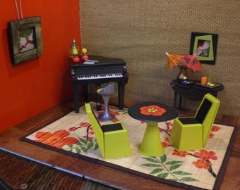 Barbie Doll House PIANO SUSHI BAR Funky Modern Complete Room Furniture Accessories ooak