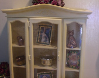 Barbie Doll House TRADITIONAL LIVING ROOM Complete Room Wood Stove China Cabinet Furniture Accessories ooak
