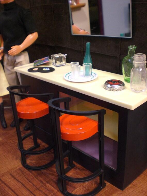 Barbie Doll House GAME ROOM Complete Room Pool Table Bar Ken Trophies Dice Furniture Accessories ooak