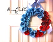 Patriotic Red and Blue Paper Flower Wreath