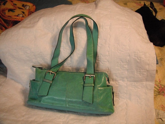 Cute Turquoise Leather purse with silver buckles and zippers