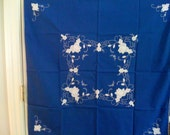 Luncheon Tablecloth - Blue & White Applique with Embroidery (circa 1950s) - PRICE CUT