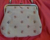 "Corde-Bead White Handbag by Lumured USA (circa 1950s) - Pristine Condition  ""PRICE CUT"""
