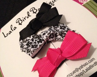 Itty Bitty Bows - Small bows - Baby Bows - Toddler, Child, Baby - Hot Pink and Black Damask Bows  - Set of three - READY TO SHIP