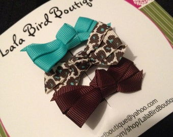 Itty Bitty Bows - Small bows - Baby Bows- Toddler, Child, Baby - Aqua and Brown Leopard Print Bows - Set of three - READY TO SHIP
