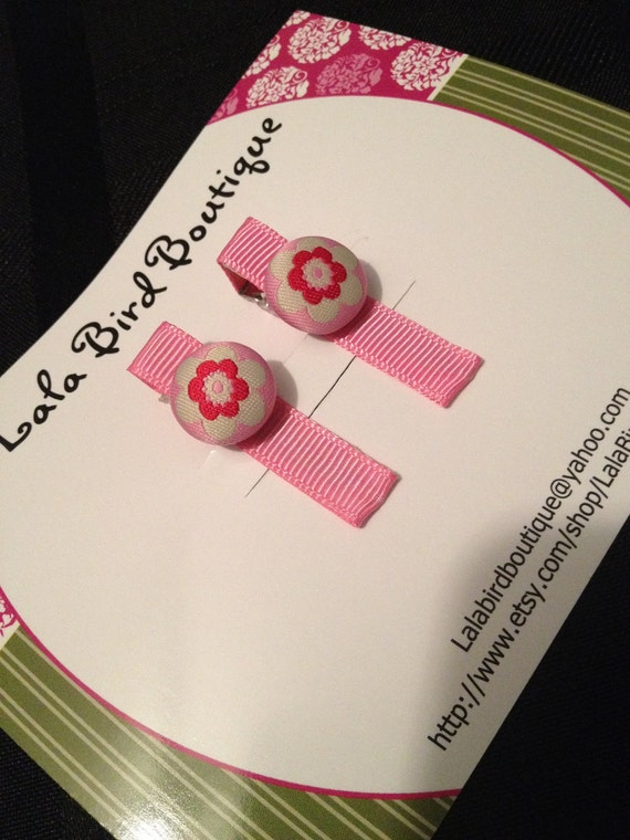 Hairclip - Toddler, Child, Baby - Pink Flower Fabric Button - Set of 2- READY TO SHIP