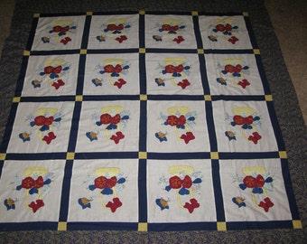 Applique Bows, Baskets and Butterflies Quilt Top
