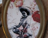 Reclaimed Vinage Frame with Pinup CowGirl