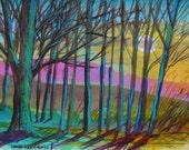 Moon Highlights Original Watercolor Landscape Painting JMW art John Williams Expressionism