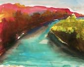 River Bend in October Original Watercolor Autumn landscape John Williams art JMW Portfolio Impressionism