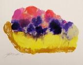 Lemon Berry Pie Original Acrylic MONOPRINT Food Dessert Painting John Williams art JMW Impressionism