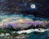 Winter Eclipse Original Acrylic Landscape John Williams art JMW Impressionism Modern scene