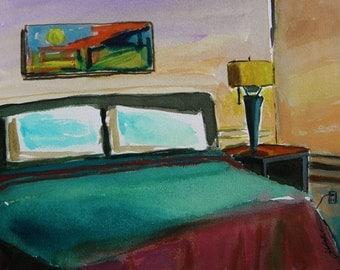 Motel Room Original Watercolor Interior Hotel Landscape Painting JMW art John Williams Impressionism