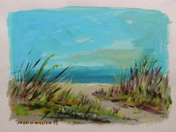 Fall Beach Grasses Original Acrylic Landscape Painting John Williams Seascape JMWPORTFOLIO