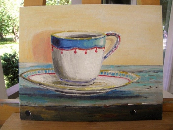 Fine China  Original Oil Painting Impressionism  Landscape John Williams art JMW Still Life Tea Cup