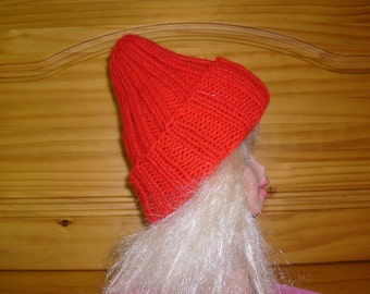 Hand Knit Child's Hat- Cherry Red