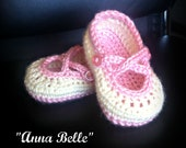 "Baby ""Anna Bell"" mary jane booties - adorable - girl sizes newborn to 12 months available choice of colors"