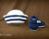 """Adorable baby boy gift set - """"the little sailor"""" - navy sailor hat and booties - available any size newborn - 12 months"""