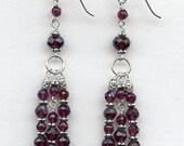 Reserved for Pamela-Faceted Garnet silver earrings