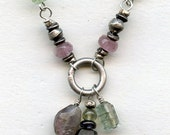 Assorted watermelon tourmaline, African silver, sterling link necklace