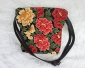 EASTER SALE Date Night Flowers Cotton Black Leather Straps Shoulder Bag