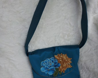 EASTER SALE Turquoise Silk Shoulder Bag