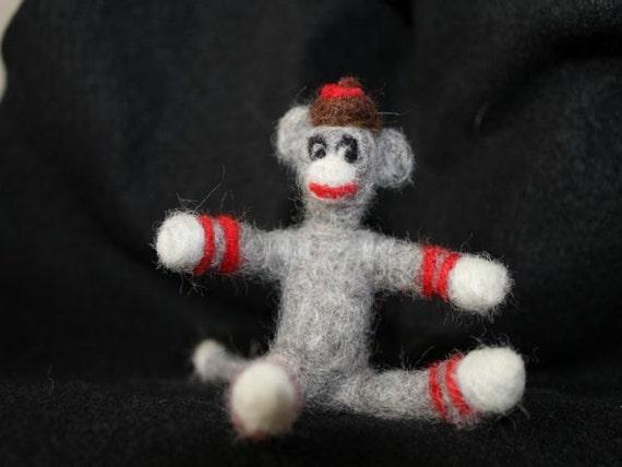 Minature Needle Felted Sock Monkey
