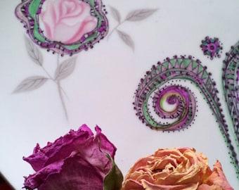 Embellished, handpainted, doodled, vintage serving plate