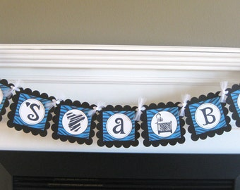 """Zebra Blue & Black Baby Shower """"It's A Girl"""", """"It's A Boy"""" or Baby Name Banner - Party Pack Specials Available"""